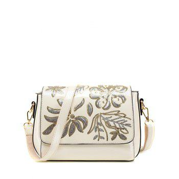 Flower Pattern Magnetic Closure Sequins Crossbody Bag