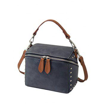 Dome Stud Color Spliced Box Shape Crossbody Bag