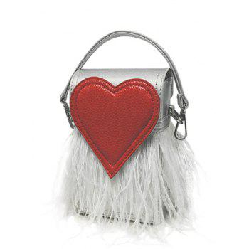 Color Block Heart Pattern Fringe Handbag - SILVER SILVER