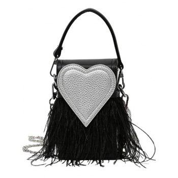 Color Block Heart Pattern Fringe Handbag
