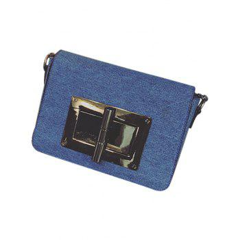 Denim Metallic Hasp Crossbody Bag -  BLUE