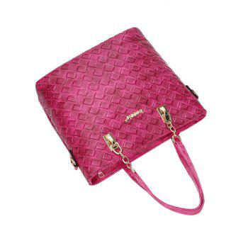 Weave PU Leather Metal Shoulder Bag -  ROSE MADDER