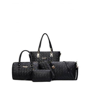 Weave PU Leather Metal Shoulder Bag - BLACK BLACK