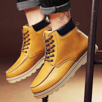 PU Leather Lace-Up Color Spliced Boots - LIGHT BROWN 44