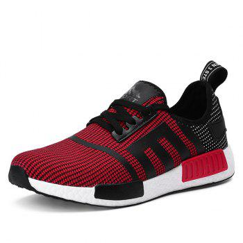 Tie Up Breathable Colour Spliced Athletic Shoes