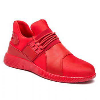 Faux Leather Elastic Band Athletic Shoes