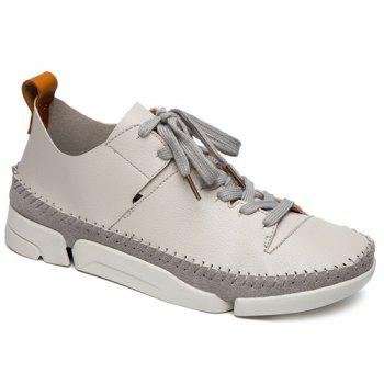 Lace-Up Suede Spliced Stiching Casual Shoes