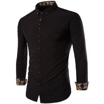 Embroidery Button-Down Long Sleeves Shirt