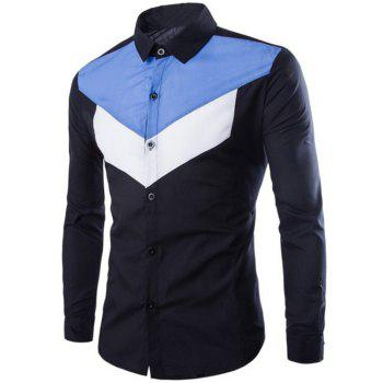 Color Splicing Single-Breasted Long Sleeves Shirt