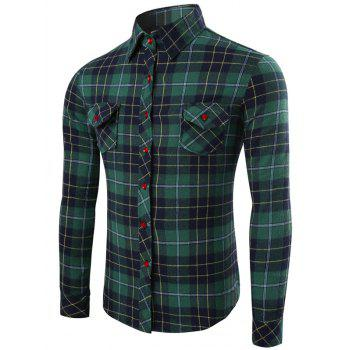 Pocket Design Long Sleeve Checked Pattern Shirt