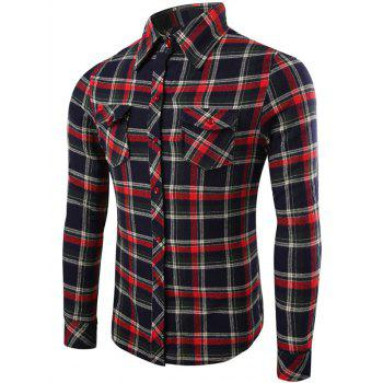 Plaid Pattern Long Sleeve Flap Pocket Shirt