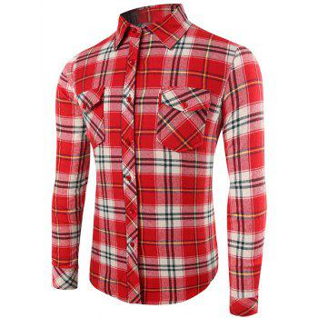 Long Sleeve Button Up Plaid Pattern Shirt