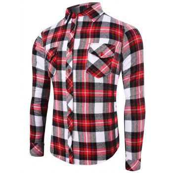 Color Splicing Flap Pocket Long Sleeve Plaid Shirt
