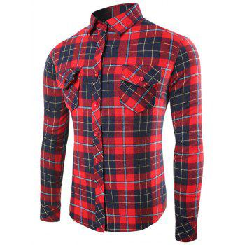 Flap Pocket Single-Breasted Plaid Long Sleeve Shirt