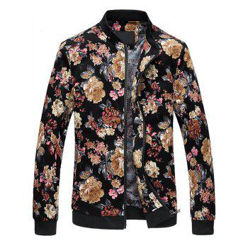 Plus Size Zip Up Stand Collar Flowers Pattern Jacket