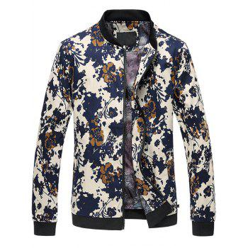 Zip Up Stand Collar 3D Floral Printed Plus Size Jacket