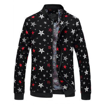 Zip Up Stand Collar 3D Stars Printed Plus Size Jacket