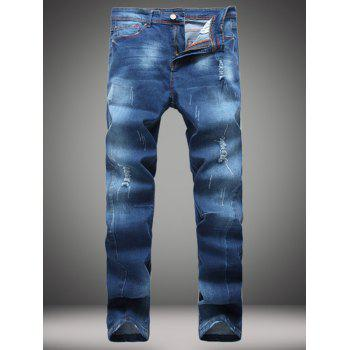 Zip-Fly Straight Leg Destroyed Jeans - DENIM BLUE 32
