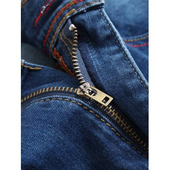 Zip-Fly Straight Leg Destroyed Jeans - 32 32
