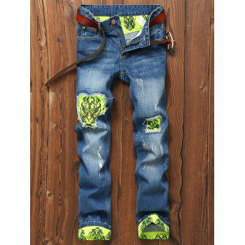 Tiger and Skull Print Holes Zipper Fly Straight Leg Jeans