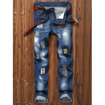 Patched Appliques Holes Zipper Fly Straight Leg Jeans