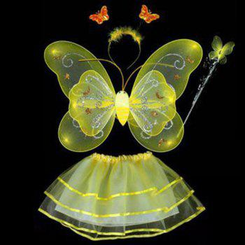 Halloween Cospaly Butterfly Angel 4PCS Kids Costume Set - YELLOW YELLOW
