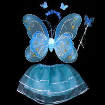 Halloween Cospaly Butterfly Angel 4PCS Kids Costume Set - BLUE BLUE