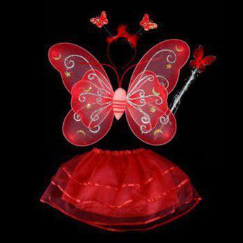 Halloween Cospaly Butterfly Angel 4PCS Kids Costume Set - RED RED