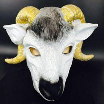 Halloween Party Goat Head Animal Cospaly Prop Mask - WHITE AND YELLOW WHITE/YELLOW