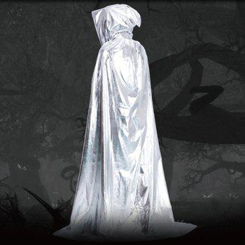 Fancy Dress Halloween Wizard Cospaly Hooded Cloak - SILVER SILVER