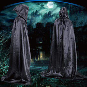 Fancy Dress Halloween Wizard Cospaly Hooded Cloak - BLACK BLACK