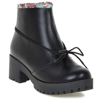 Floral Print Spliced Chunky Heel Platform Ankle Boots