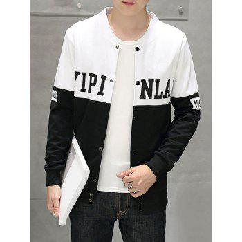 Stand Collar Snap Button Up Letter Print Jacket