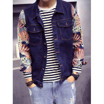 Printed Pocket Front Button Up Denim Jacket