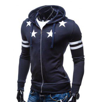 Zip Up Star Print Drawstring Hoodie - CADETBLUE XL