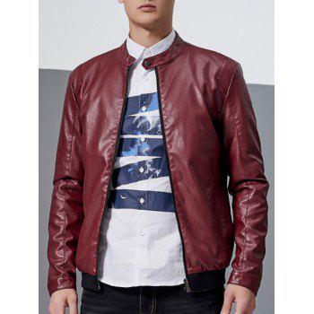 Stand Collar Zip-Up Faux Leather Jacket