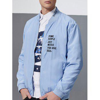 Zip-Up Letter Embroidery Bomber Jacket