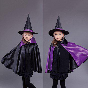 Halloween Witch Cospaly Prop Kids Cloak Costume Set - BLACK AND PURPLE BLACK/PURPLE