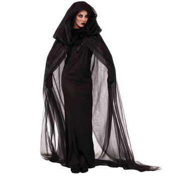 Halloween Cospaly Party Witch Cloak Hooded Costume Set - BLACK BLACK