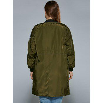 Plus Size Zip Up Patched Ruffled Trench Coat - ARMY GREEN 2XL