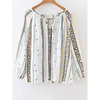 Long Sleeve Printed Tie Neck Top