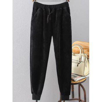Plus Size Drawstring Velvet Sporty Jogger Pants