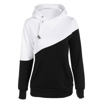 Pullover Drawstring Color Block Hoodie