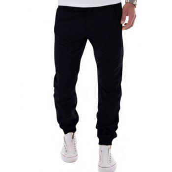 Button Pocket Back Zipper Fly Jogger Pants