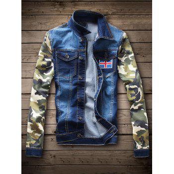 Camouflage Pattern Single Breasted Denim Jacket