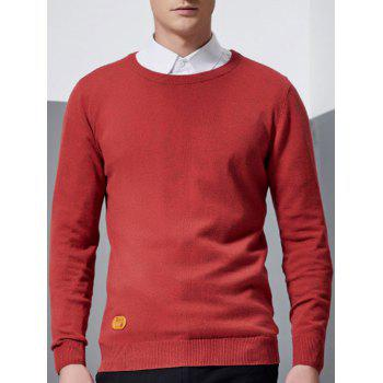 Patch Design Crew Neck Pullover Knitwear