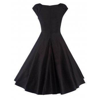 A Line Puffer Cap Sleep Prom Dress Black Xl In Little
