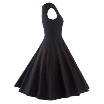 A Line Puffer Cap Sleep Prom Dress - BLACK L