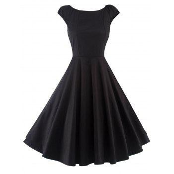A Line Puffer Cap Sleep Plain Prom Dress - BLACK BLACK