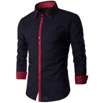 Spliced Design Turn-Down Collar Long Sleeve Shirt - RED WITH BLACK XL